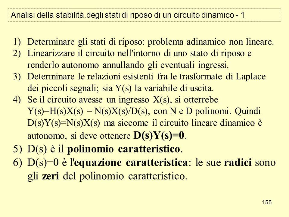 155 Analisi della stabilità.degli stati di riposo di un circuito dinamico - 1 1)Determinare gli stati di riposo: problema adinamico non lineare. 2)Lin