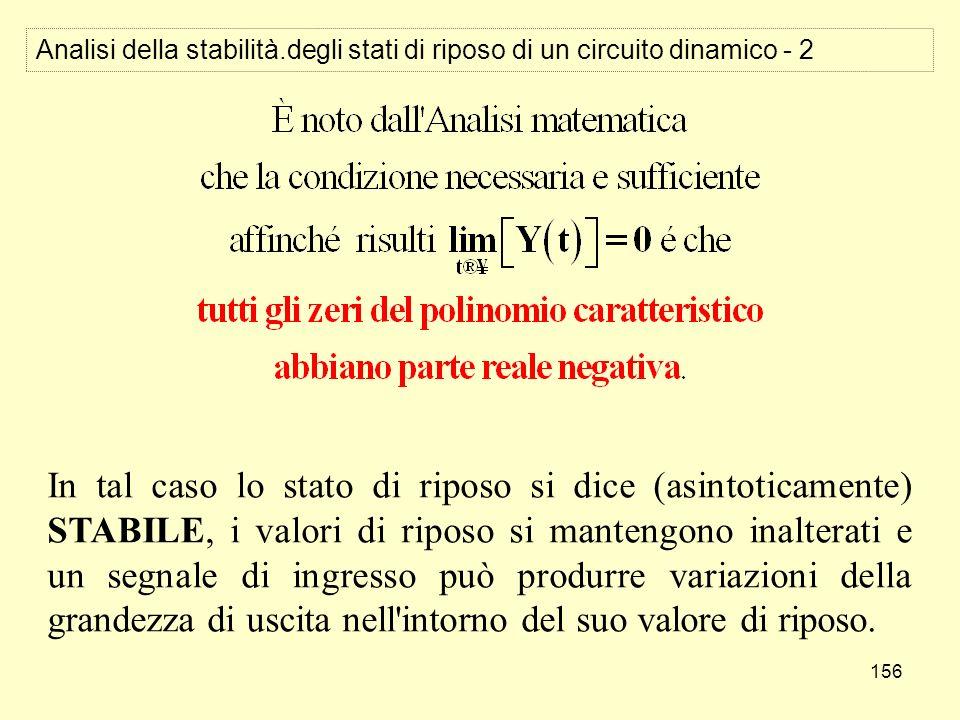 156 Analisi della stabilità.degli stati di riposo di un circuito dinamico - 2 In tal caso lo stato di riposo si dice (asintoticamente) STABILE, i valo