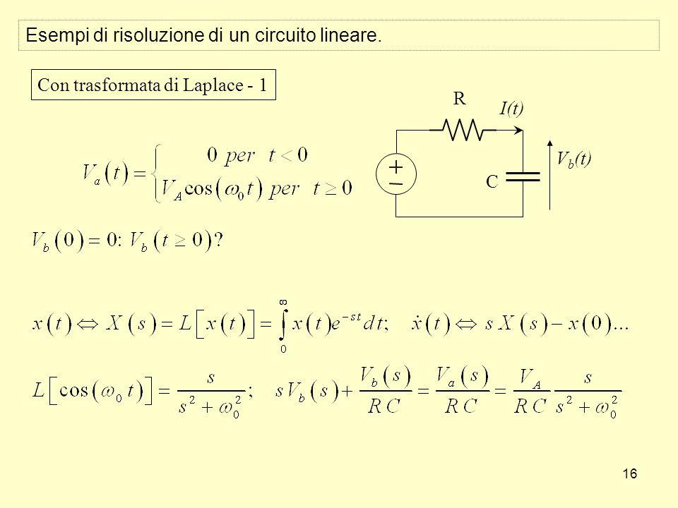 16 Esempi di risoluzione di un circuito lineare. R I(t) V b (t) C Con trasformata di Laplace - 1