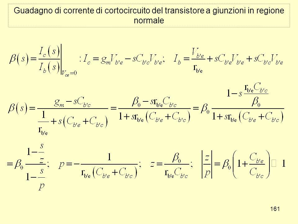 161 Guadagno di corrente di cortocircuito del transistore a giunzioni in regione normale
