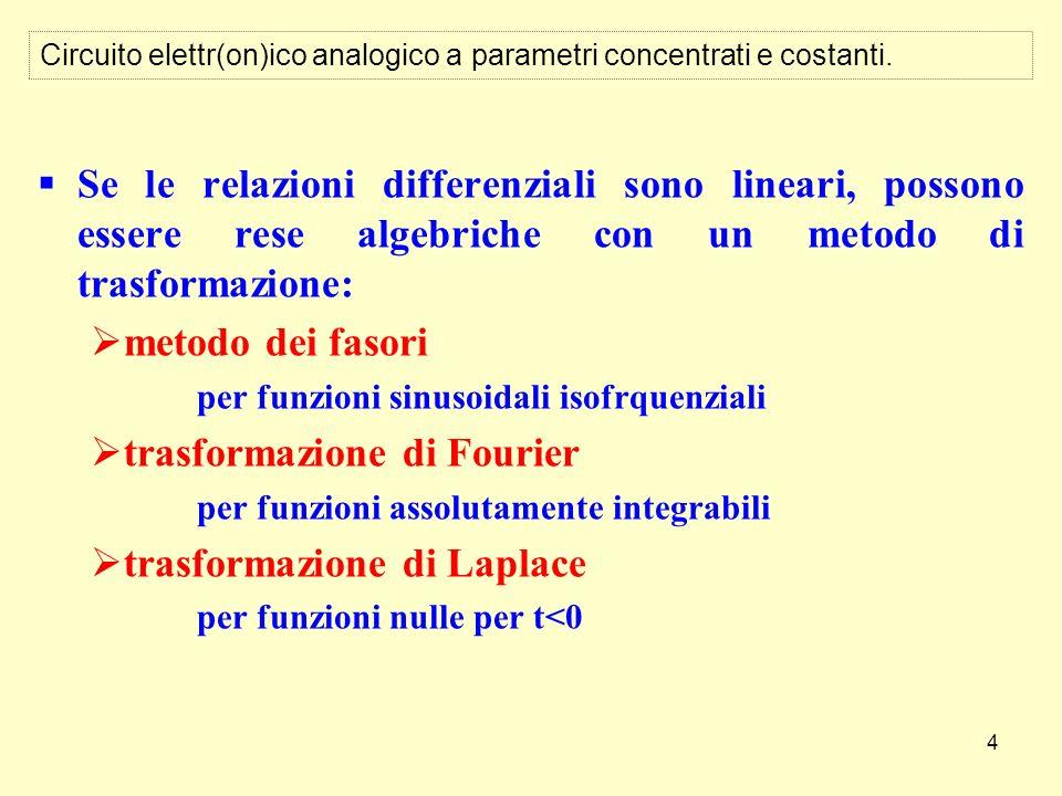 4 Circuito elettr(on)ico analogico a parametri concentrati e costanti. Se le relazioni differenziali sono lineari, possono essere rese algebriche con