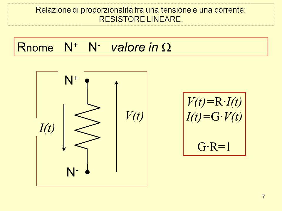 7 Relazione di proporzionalità fra una tensione e una corrente: RESISTORE LINEARE. R nome N + N - valore in N + N-N- I(t) V(t) N + N-N- I(t) V(t) V(t)