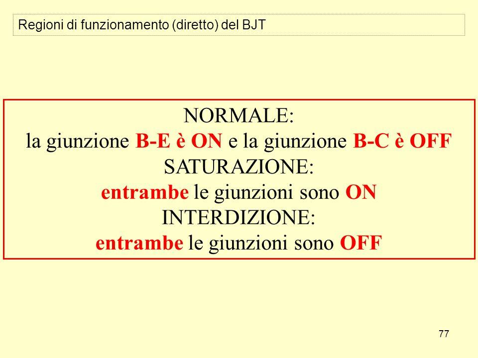 77 Regioni di funzionamento (diretto) del BJT NORMALE: la giunzione B-E è ON e la giunzione B-C è OFF SATURAZIONE: entrambe le giunzioni sono ON INTERDIZIONE: entrambe le giunzioni sono OFF