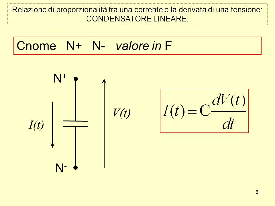 8 Relazione di proporzionalità fra una corrente e la derivata di una tensione: CONDENSATORE LINEARE.