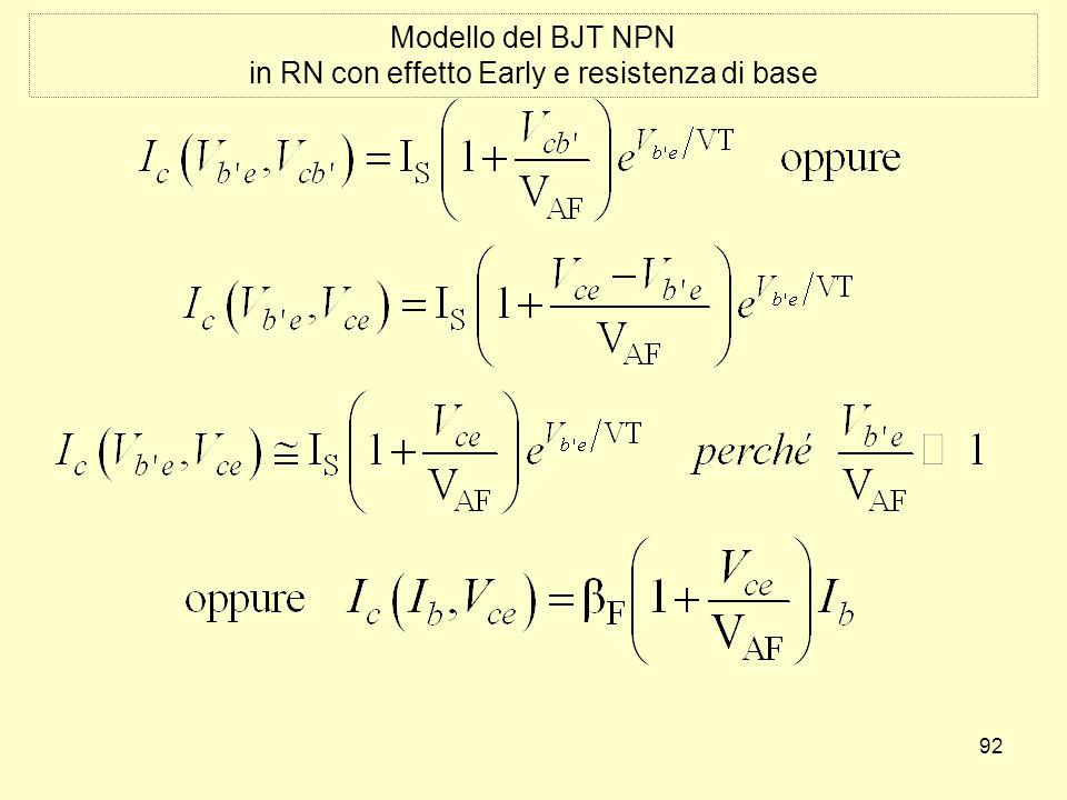 92 Modello del BJT NPN in RN con effetto Early e resistenza di base