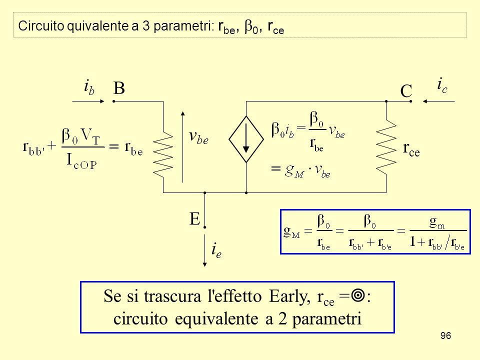 96 Circuito quivalente a 3 parametri: r be, 0, r ce B E ibib v be ieie C icic r ce Se si trascura l effetto Early, r ce = : circuito equivalente a 2 parametri