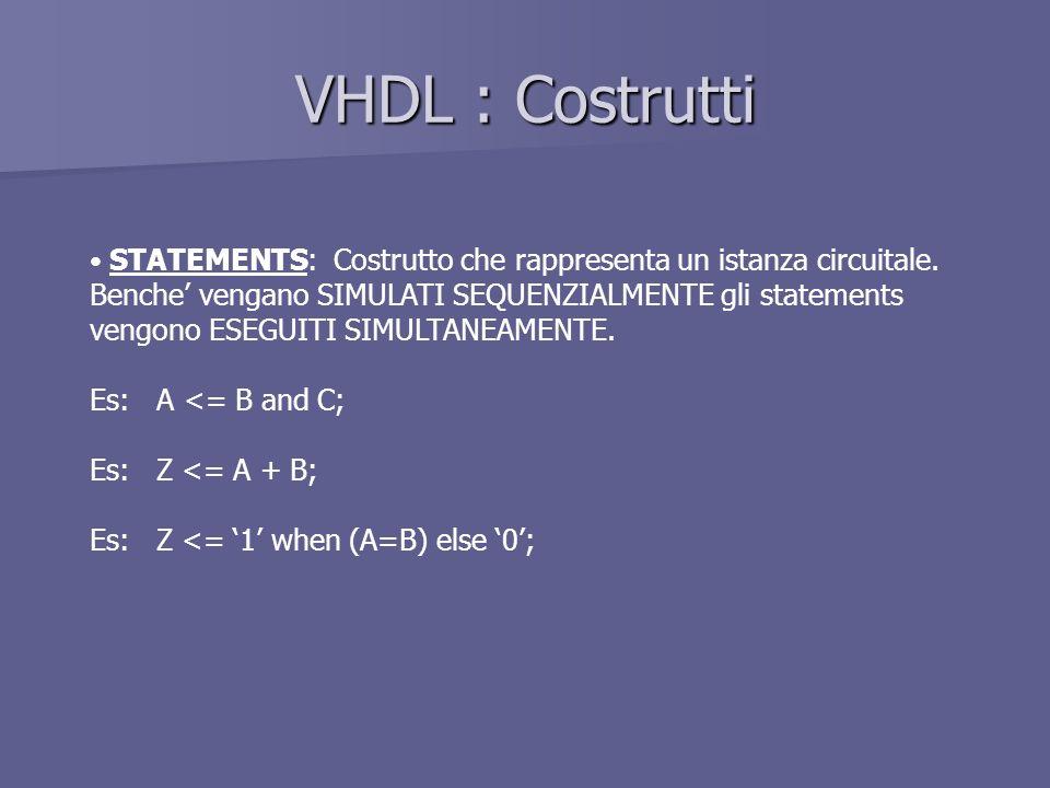 VHDL : Costrutti STATEMENTS: Costrutto che rappresenta un istanza circuitale.