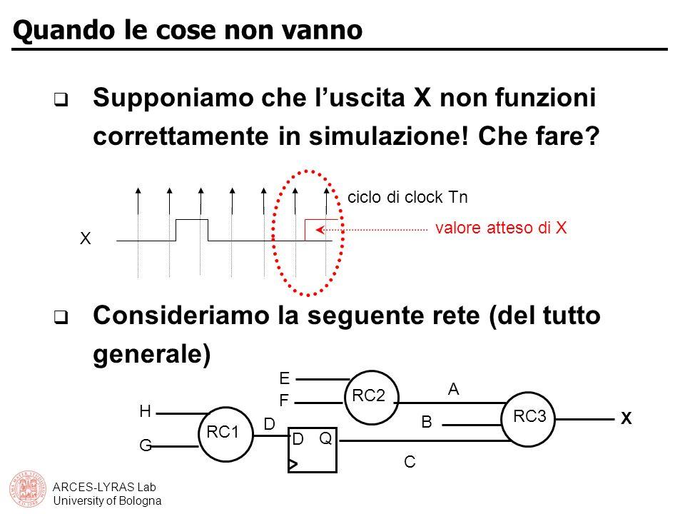 ARCES-LYRAS Lab University of Bologna Quando le cose non vanno Supponiamo che luscita X non funzioni correttamente in simulazione.