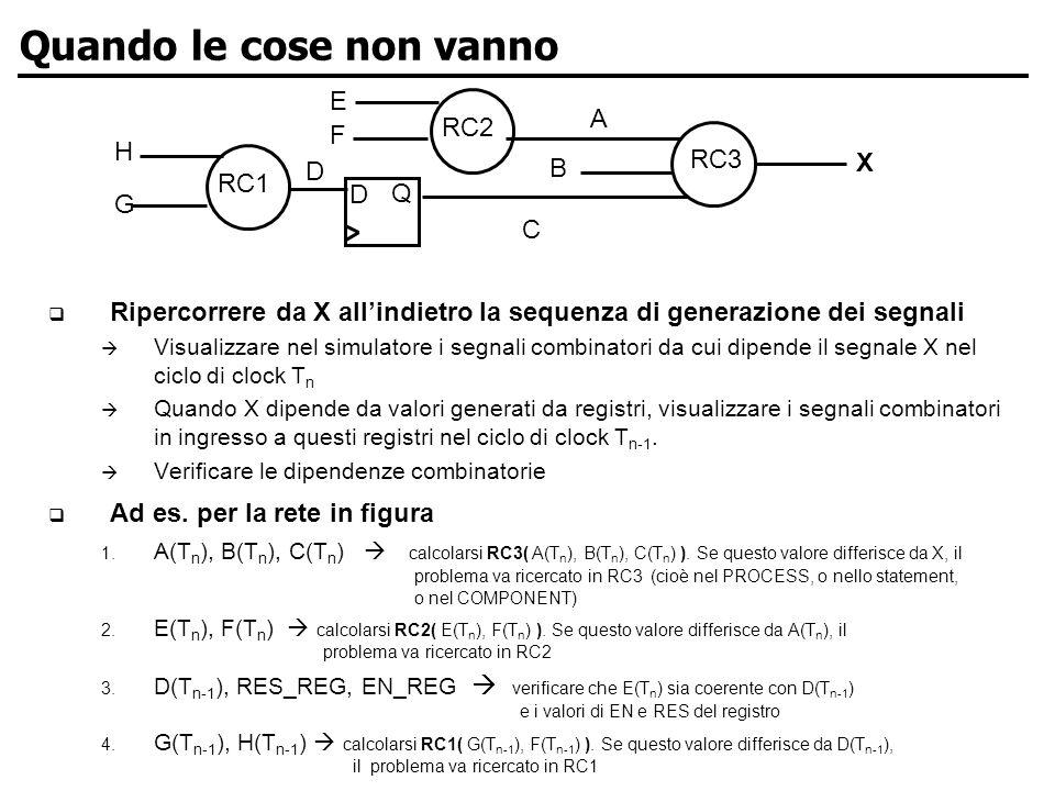 ARCES-LYRAS Lab University of Bologna Quando le cose non vanno Ripercorrere da X allindietro la sequenza di generazione dei segnali Visualizzare nel simulatore i segnali combinatori da cui dipende il segnale X nel ciclo di clock T n Quando X dipende da valori generati da registri, visualizzare i segnali combinatori in ingresso a questi registri nel ciclo di clock T n-1.
