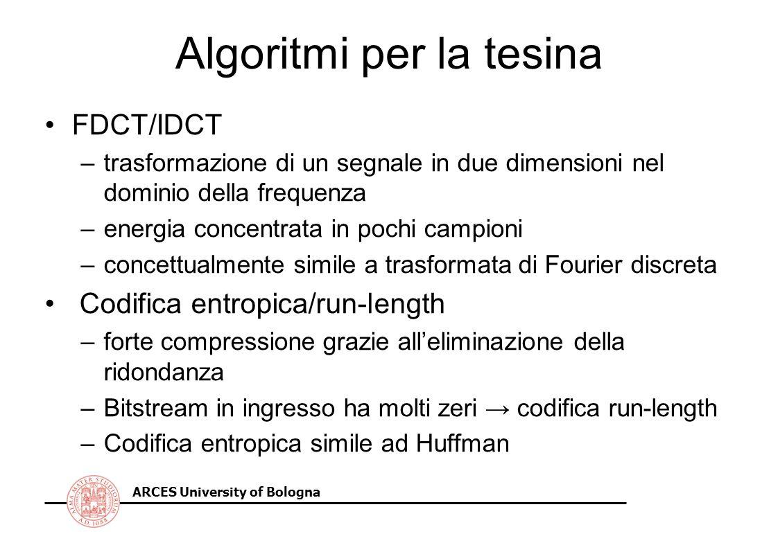 ARCES University of Bologna Algoritmi per la tesina FDCT/IDCT –trasformazione di un segnale in due dimensioni nel dominio della frequenza –energia con