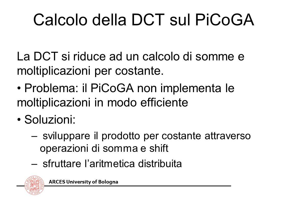 ARCES University of Bologna Calcolo della DCT sul PiCoGA La DCT si riduce ad un calcolo di somme e moltiplicazioni per costante. Problema: il PiCoGA n