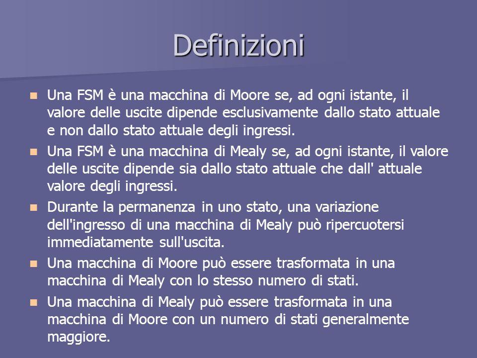 Definizioni Una FSM è una macchina di Moore se, ad ogni istante, il valore delle uscite dipende esclusivamente dallo stato attuale e non dallo stato a