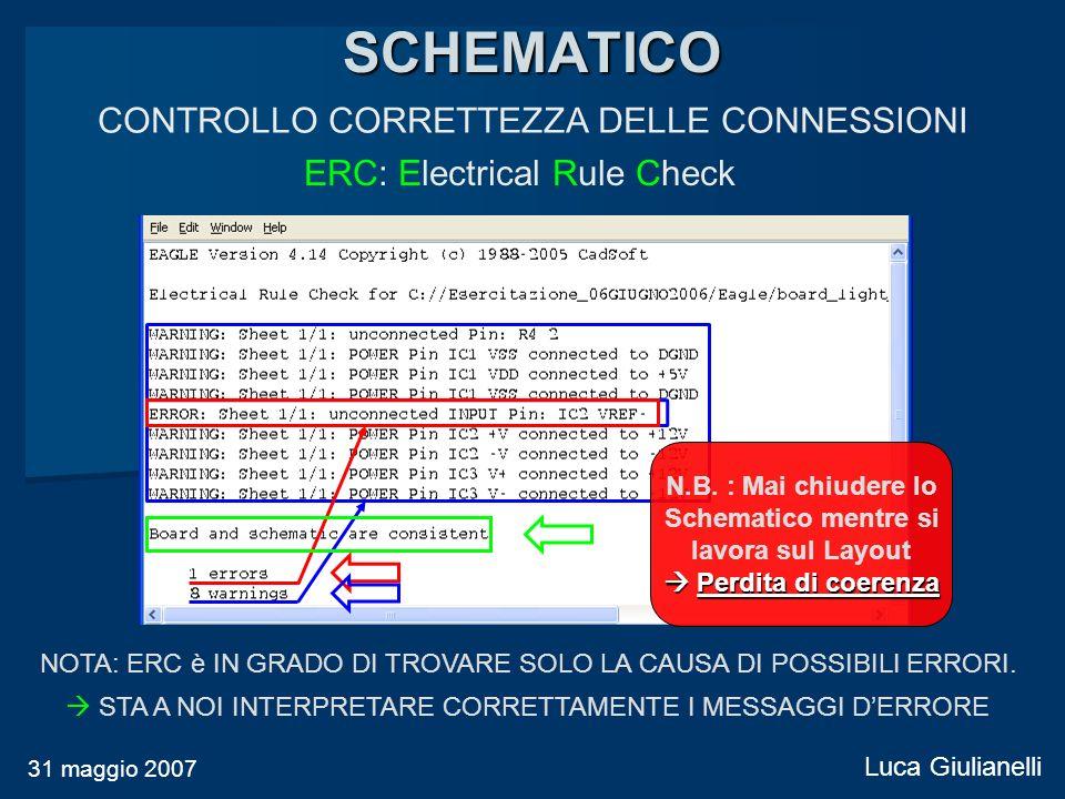 CONTROLLO CORRETTEZZA DELLE CONNESSIONI SCHEMATICO 31 maggio 2007 Luca Giulianelli NOTA: ERC è IN GRADO DI TROVARE SOLO LA CAUSA DI POSSIBILI ERRORI.