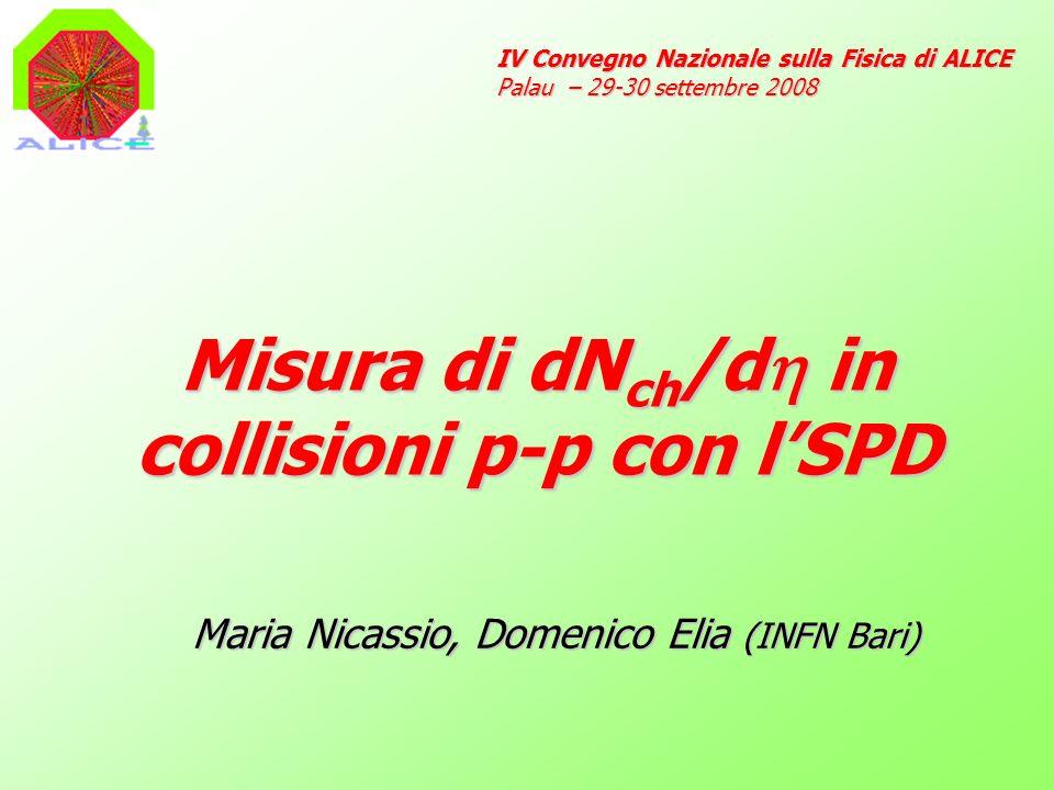 Misura di dN ch /d in collisioni p-p con lSPD IV Convegno Nazionale sulla Fisica di ALICE Palau – 29-30 settembre 2008 Maria Nicassio, Domenico Elia (INFN Bari)
