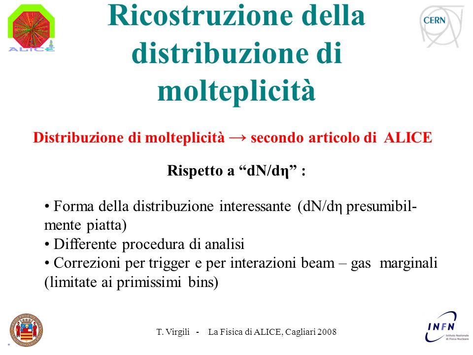 T. Virgili - La Fisica di ALICE, Cagliari 2008 Rispetto a dN/dη : Distribuzione di molteplicità secondo articolo di ALICE Ricostruzione della distribu