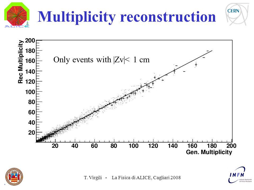 T. Virgili - La Fisica di ALICE, Cagliari 2008 Multiplicity reconstruction Only events with |Zv|< 1 cm