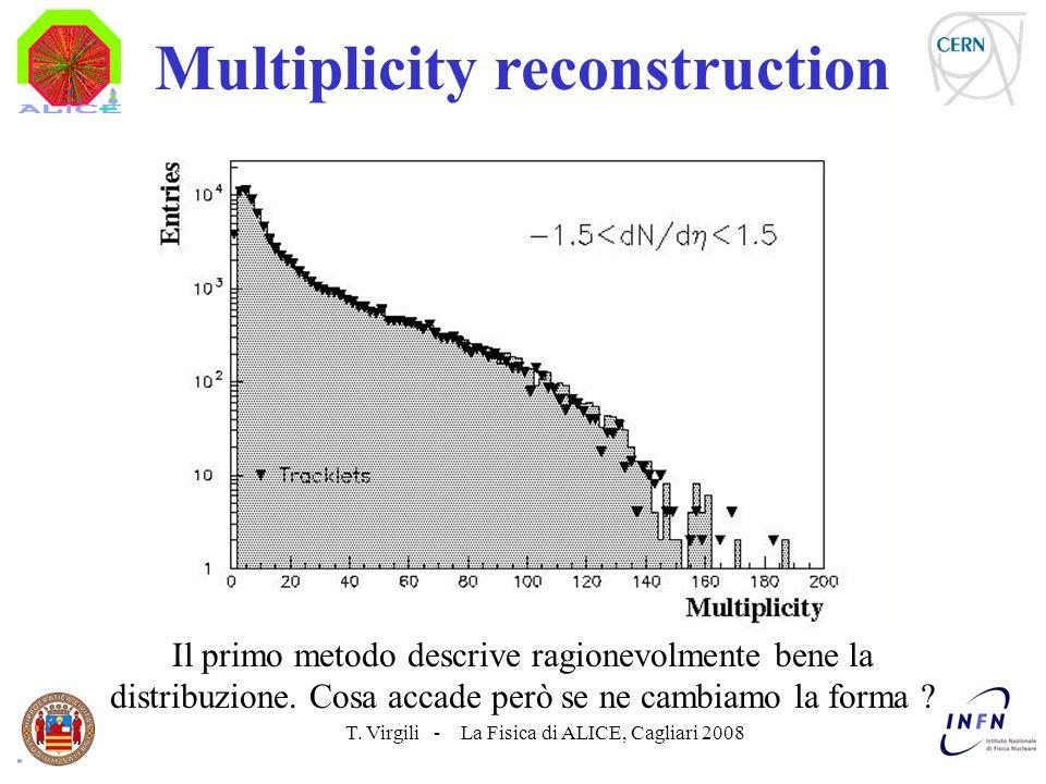 T. Virgili - La Fisica di ALICE, Cagliari 2008 Multiplicity reconstruction Il primo metodo descrive ragionevolmente bene la distribuzione. Cosa accade