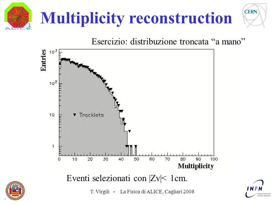 T. Virgili - La Fisica di ALICE, Cagliari 2008 Multiplicity reconstruction Esercizio: distribuzione troncata a mano Eventi selezionati con |Zv|< 1cm.