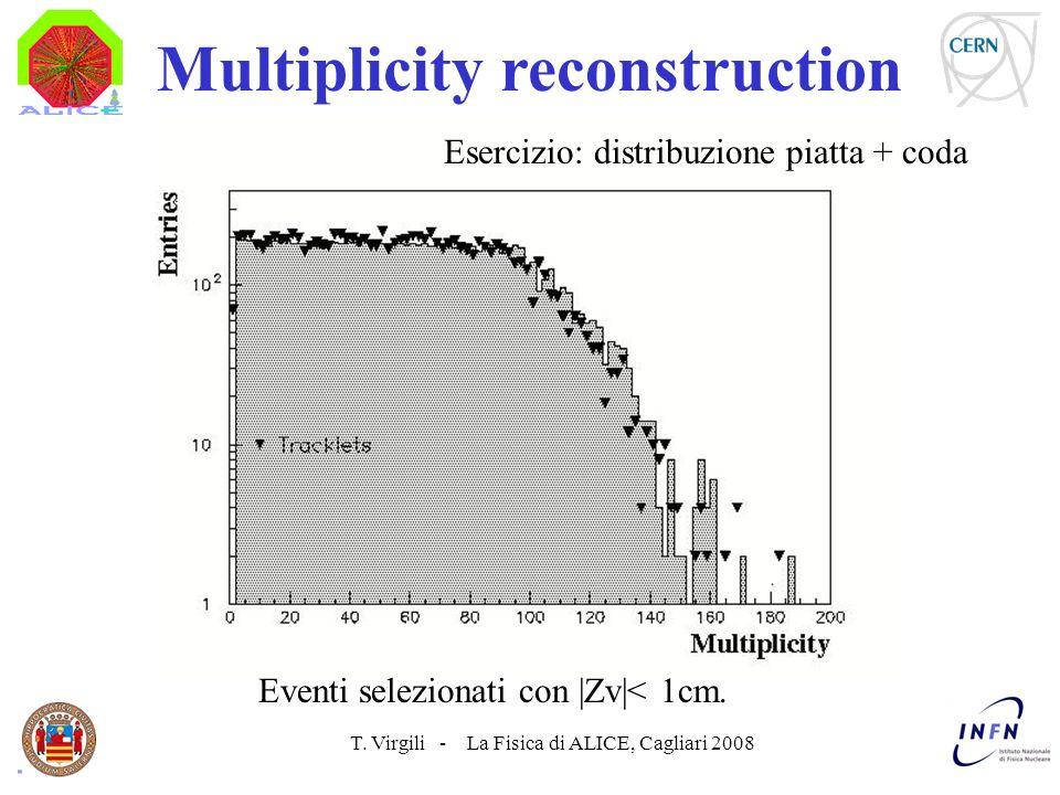 T. Virgili - La Fisica di ALICE, Cagliari 2008 Multiplicity reconstruction Esercizio: distribuzione piatta + coda Eventi selezionati con |Zv|< 1cm.