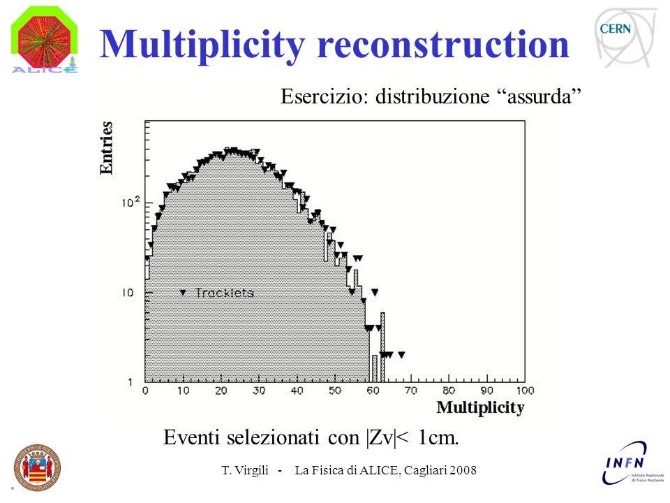 T. Virgili - La Fisica di ALICE, Cagliari 2008 Multiplicity reconstruction Esercizio: distribuzione assurda Eventi selezionati con |Zv|< 1cm.