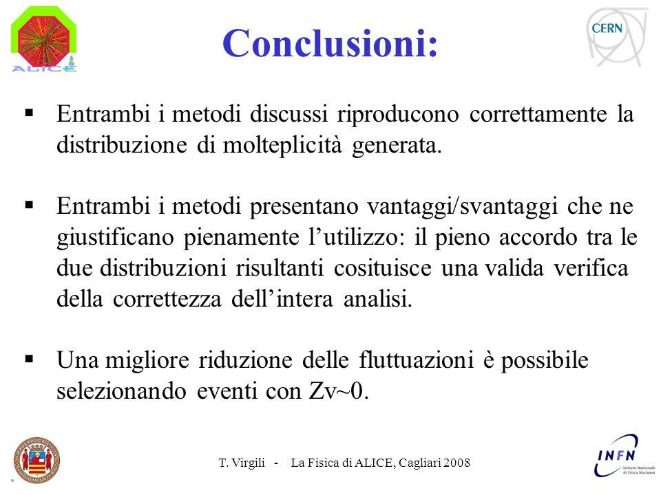 T. Virgili - La Fisica di ALICE, Cagliari 2008 Conclusioni: Entrambi i metodi discussi riproducono correttamente la distribuzione di molteplicità gene