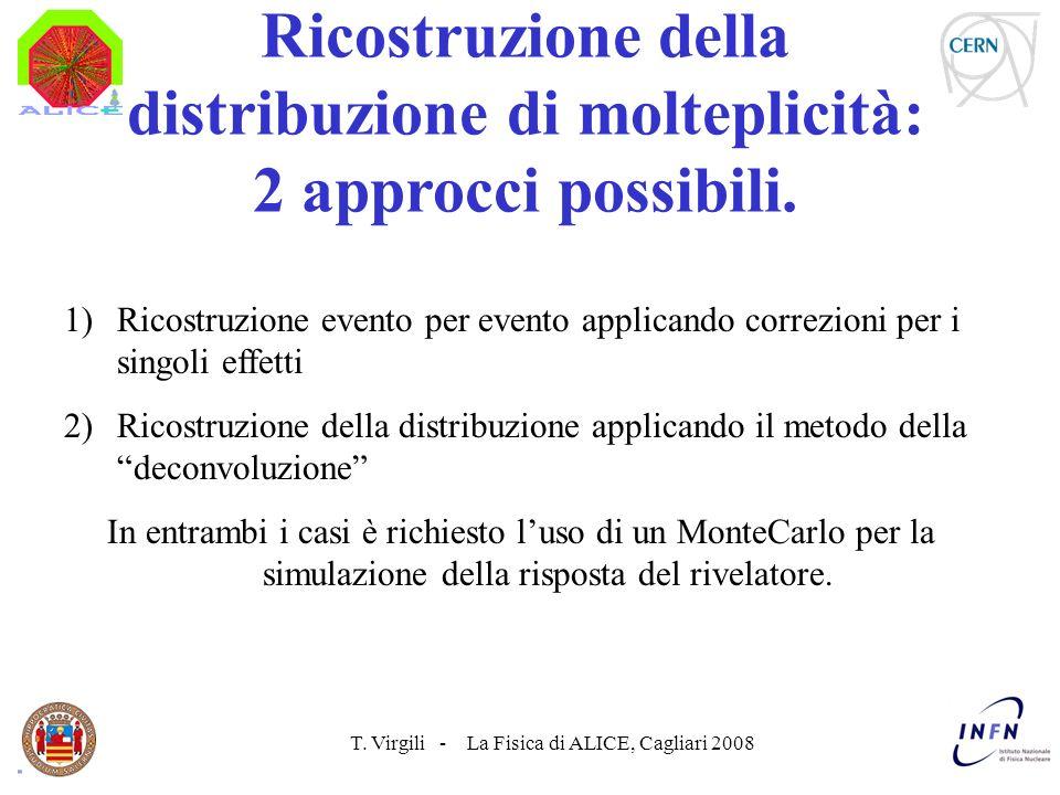 T. Virgili - La Fisica di ALICE, Cagliari 2008 Ricostruzione della distribuzione di molteplicità: 2 approcci possibili. 1)Ricostruzione evento per eve