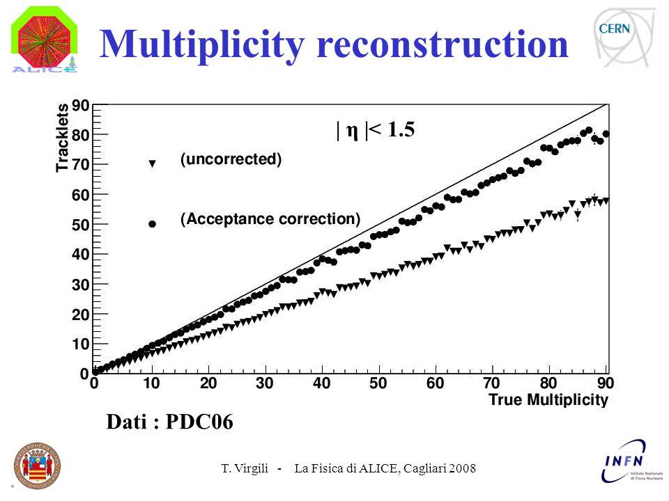 T. Virgili - La Fisica di ALICE, Cagliari 2008 Multiplicity reconstruction Dati : PDC06 | η |< 1.5