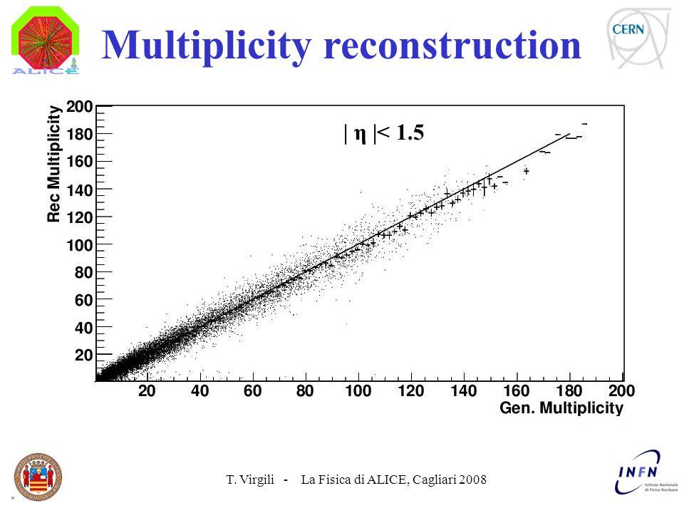 T. Virgili - La Fisica di ALICE, Cagliari 2008 Multiplicity reconstruction | η |< 1.5