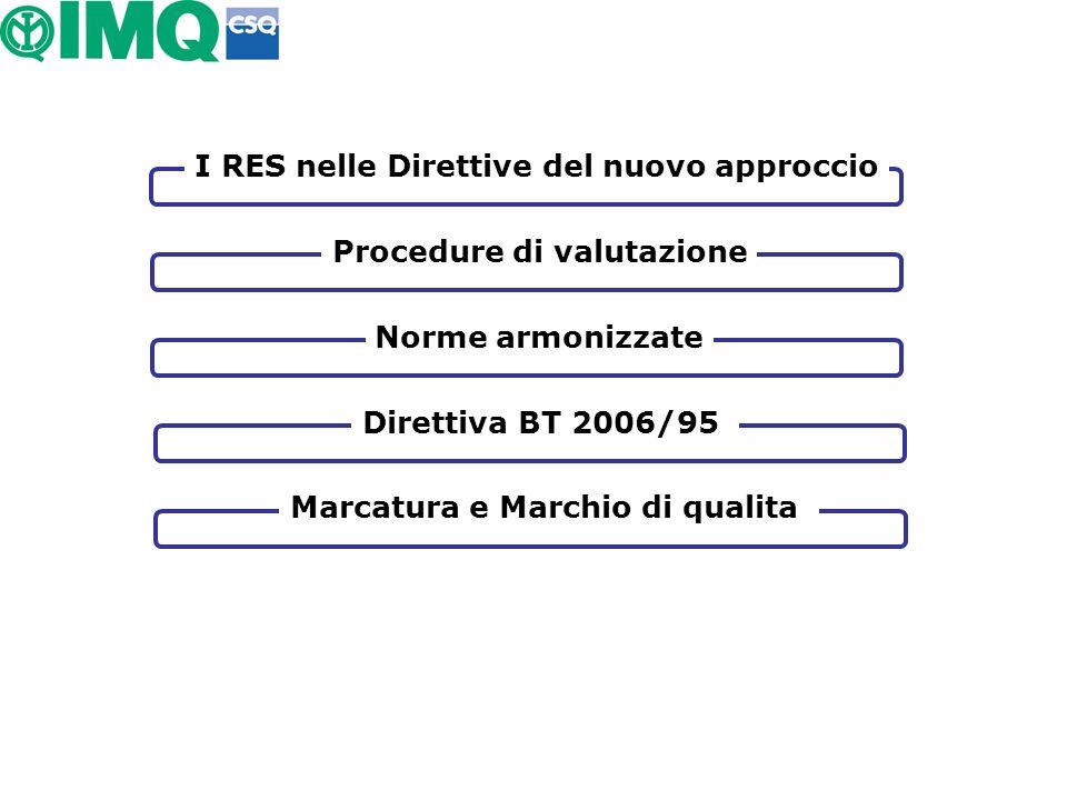 I RES nelle Direttive del nuovo approccio Procedure di valutazione Norme armonizzate Marcatura e Marchio di qualita Direttiva BT 2006/95
