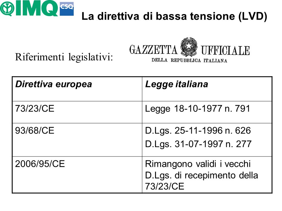 La direttiva di bassa tensione (LVD) Riferimenti legislativi: Direttiva europeaLegge italiana 73/23/CELegge 18-10-1977 n. 791 93/68/CED.Lgs. 25-11-199