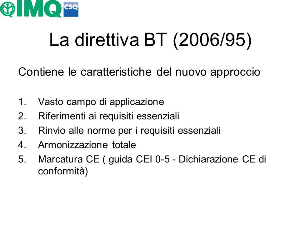 La direttiva BT (2006/95) Contiene le caratteristiche del nuovo approccio 1.Vasto campo di applicazione 2.Riferimenti ai requisiti essenziali 3.Rinvio