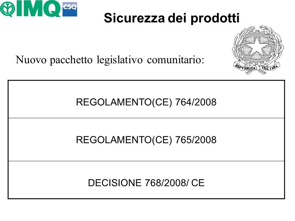Sicurezza dei prodotti Nuovo pacchetto legislativo comunitario: REGOLAMENTO(CE) 764/2008 REGOLAMENTO(CE) 765/2008 DECISIONE 768/2008/ CE