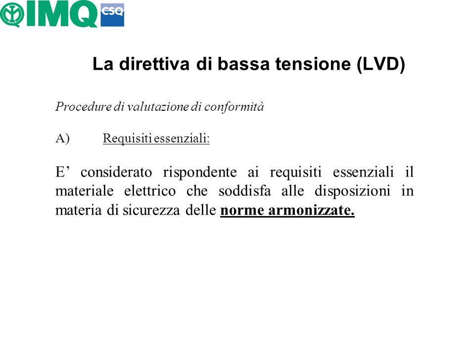 La direttiva di bassa tensione (LVD) Procedure di valutazione di conformità A)Requisiti essenziali: E considerato rispondente ai requisiti essenziali