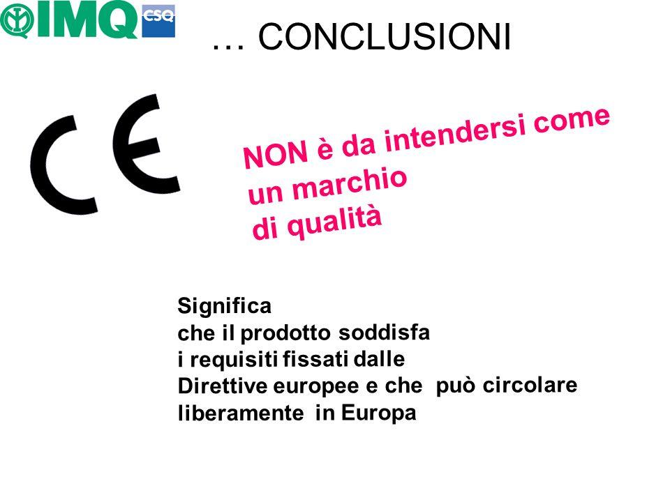 … CONCLUSIONI NON è da intendersi come un marchio di qualità Significa che il prodotto soddisfa i requisiti fissati dalle Direttive europee e che può
