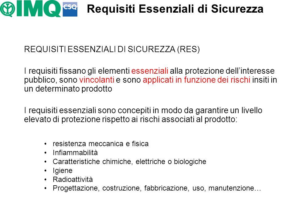 REQUISITI ESSENZIALI DI SICUREZZA (RES) I requisiti fissano gli elementi essenziali alla protezione dellinteresse pubblico, sono vincolanti e sono app