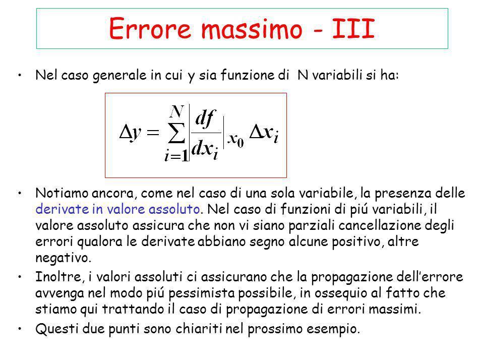 Errore massimo - III Nel caso generale in cui y sia funzione di N variabili si ha: Notiamo ancora, come nel caso di una sola variabile, la presenza de