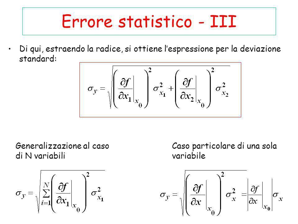 Errore statistico - III Di qui, estraendo la radice, si ottiene lespressione per la deviazione standard: Generalizzazione al caso di N variabili Caso