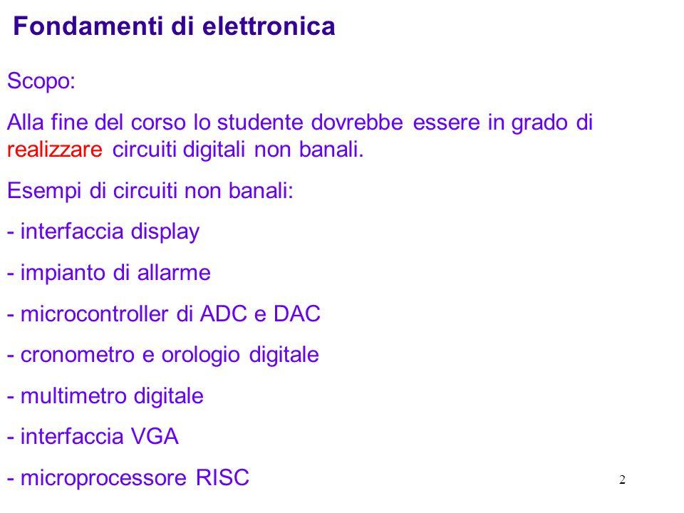 2 Fondamenti di elettronica Scopo: Alla fine del corso lo studente dovrebbe essere in grado di realizzare circuiti digitali non banali. Esempi di circ
