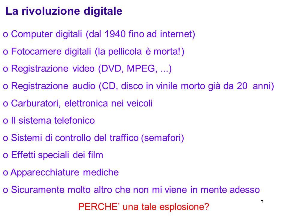 7 La rivoluzione digitale o Computer digitali (dal 1940 fino ad internet) o Fotocamere digitali (la pellicola è morta!) o Registrazione video (DVD, MP
