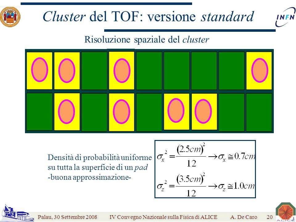 Palau, 30 Settembre 2008 IV Convegno Nazionale sulla Fisica di ALICE Cluster del TOF: versione standard A.