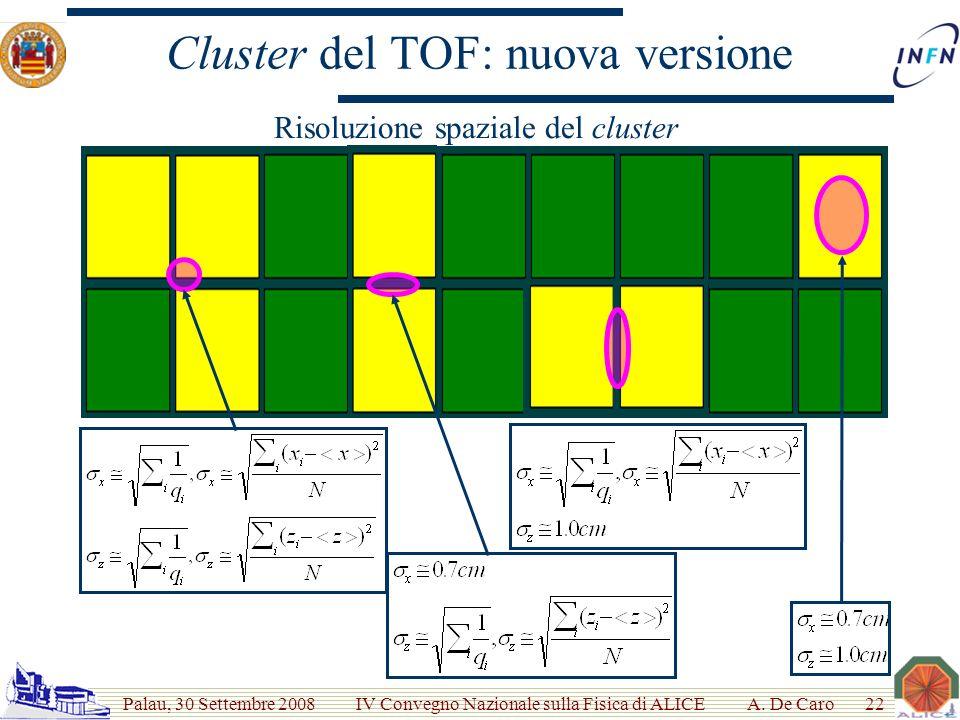 Palau, 30 Settembre 2008 IV Convegno Nazionale sulla Fisica di ALICE Cluster del TOF: nuova versione A.