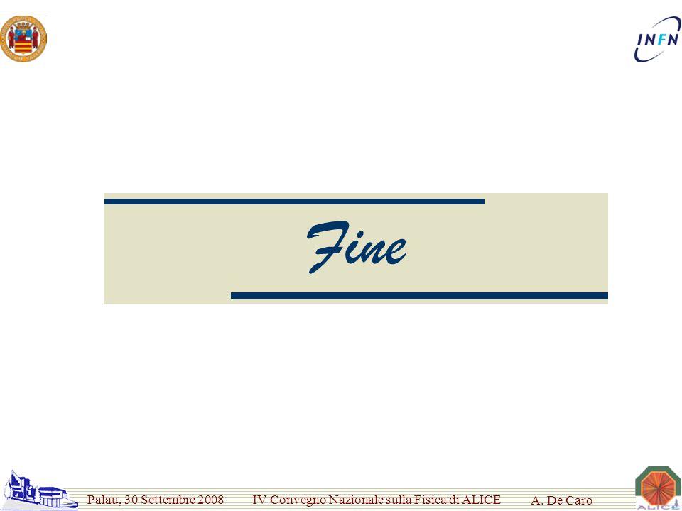 Palau, 30 Settembre 2008 IV Convegno Nazionale sulla Fisica di ALICE A. De Caro Fine