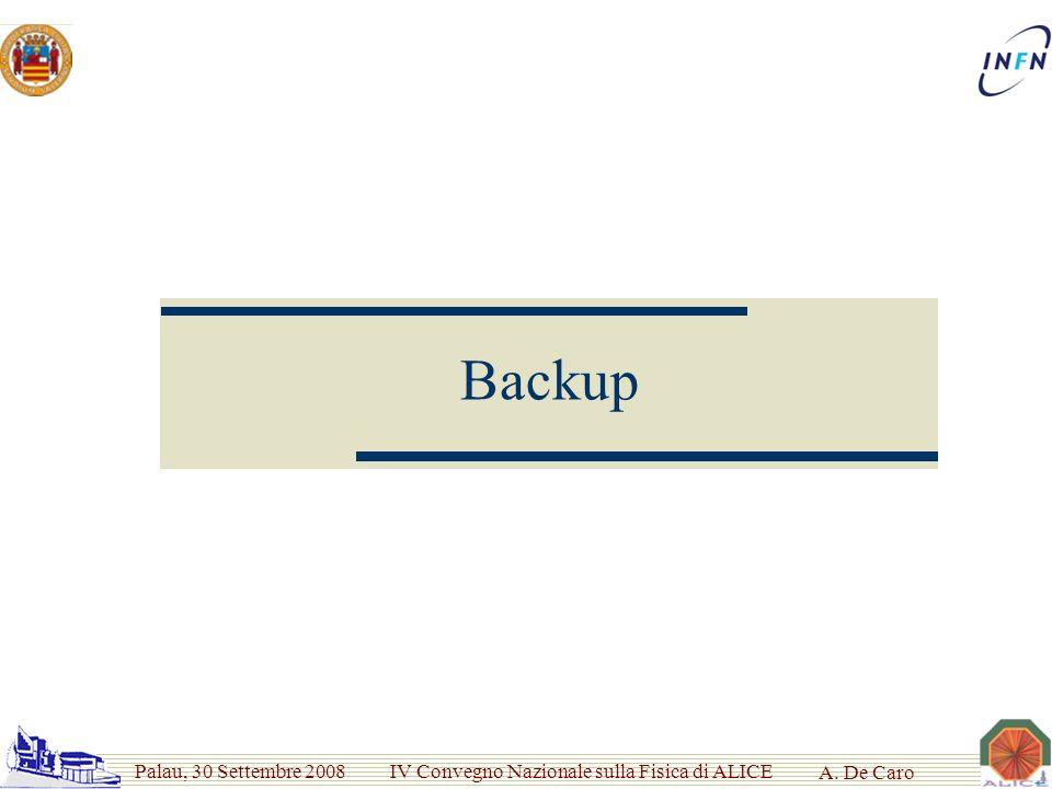 Palau, 30 Settembre 2008 IV Convegno Nazionale sulla Fisica di ALICE A. De Caro Backup