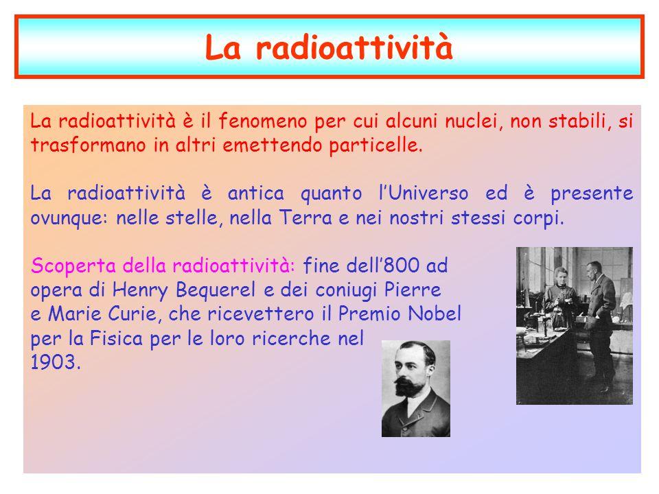 La radioattività La radioattività è il fenomeno per cui alcuni nuclei, non stabili, si trasformano in altri emettendo particelle. La radioattività è a