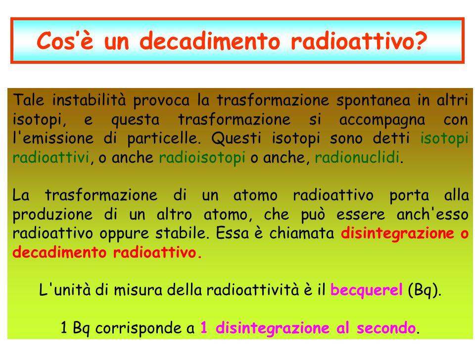 Cosè un decadimento radioattivo? Tale instabilità provoca la trasformazione spontanea in altri isotopi, e questa trasformazione si accompagna con l'em