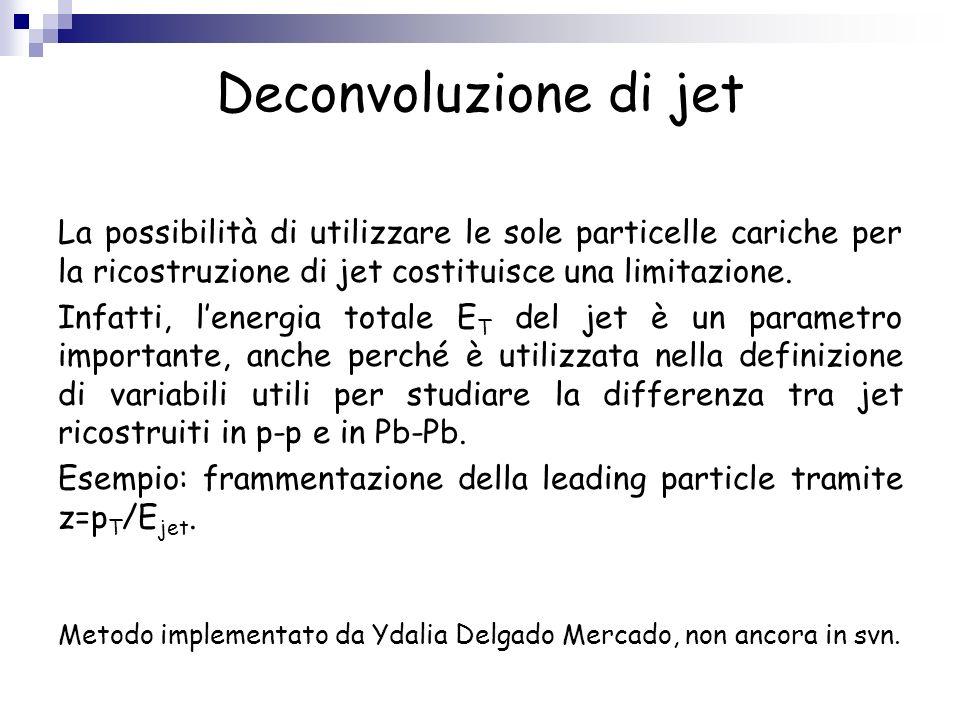 Deconvoluzione di jet La possibilità di utilizzare le sole particelle cariche per la ricostruzione di jet costituisce una limitazione. Infatti, lenerg