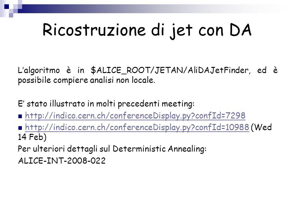Ricostruzione di jet con DA Macro ConfigJetAnalysisDA.C printf( ConfigJetAnalysis() \n ); AliJetAODReaderHeader *jrh = new AliJetAODReaderHeader(); jrh->SetComment( AOD Reader ); jrh->SetPtCut(0.); jrh->SetTestFilterMask(1<<0); AliJetAODReader *er = new AliJetAODReader(); er->SetReaderHeader(jrh); Jet ReaderJet Finder AliDAJetHeader *jh=new AliDAJetHeader(); jh->SetComment( DA jet code with default parameters ); jh->SelectJets(kTRUE); jh->SetNclust(10); jetFinder = new AliDAJetFinder(); jetFinder->SetJetHeader(jh); jetFinder->SetJetReader(er); return jetFinder;
