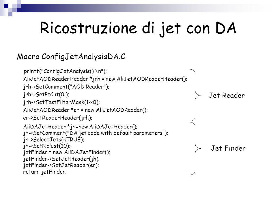 Ricostruzione di jet con DA Per lanalisi su CAF ho usato, nella presente e nelle diapositive successive, il dataset: PWG4/arian/jetjetAbove_50_real.