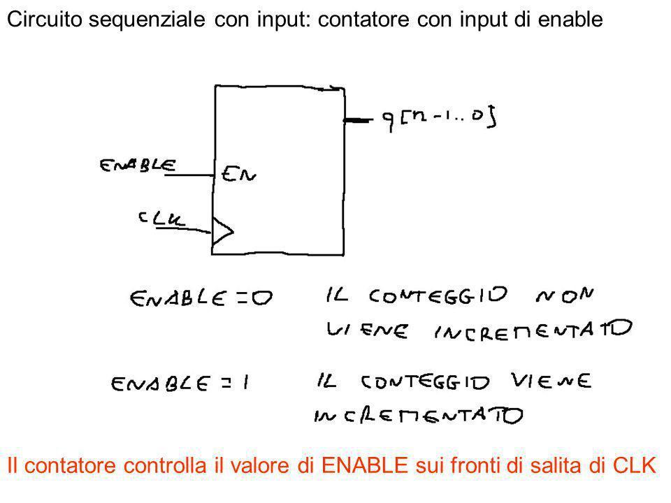 4 Circuito sequenziale con input: contatore con input di enable Il contatore controlla il valore di ENABLE sui fronti di salita di CLK