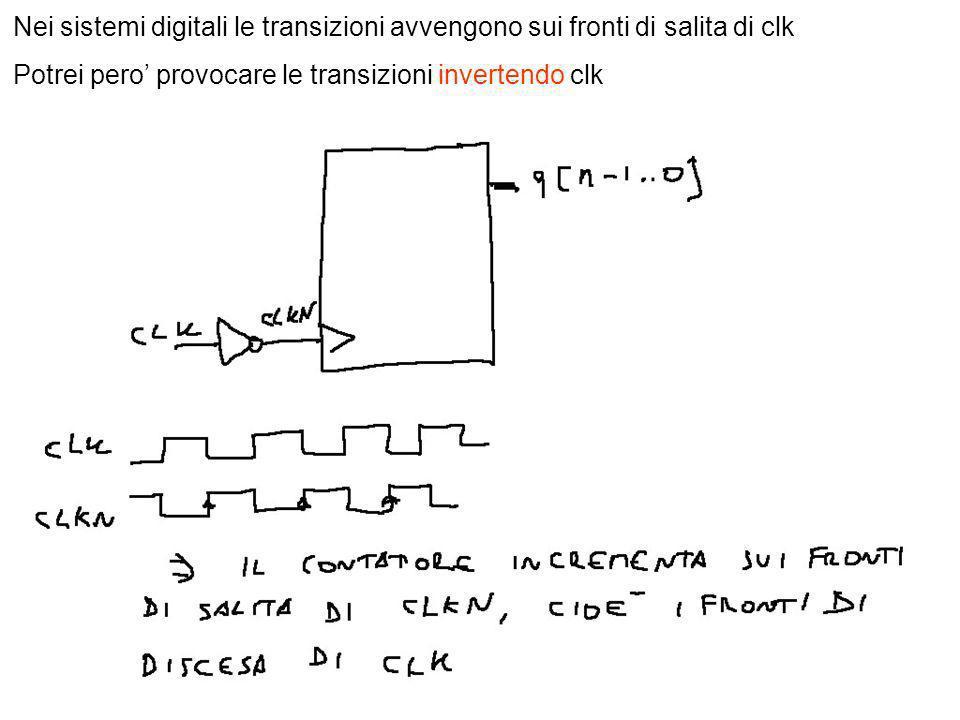 8 Nei sistemi digitali le transizioni avvengono sui fronti di salita di clk Potrei pero provocare le transizioni invertendo clk
